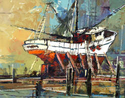 Rockport, Fishing Boat, Acrylic Painting, Home Decor, Texas Artist, Thom Ricks, Ocean Art